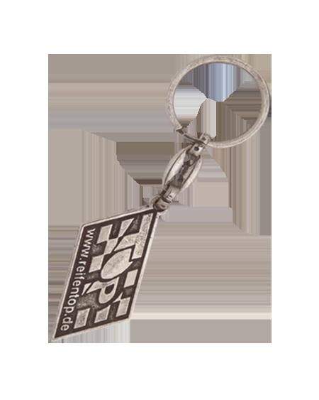 Gümüş Eskitme Çift Yönlü Zincirli Anahtarlık - E