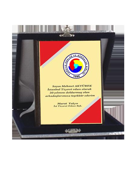 Kadife Kutulu Ahşap Plaket - ASP04